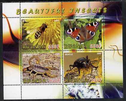 Rwanda 2009 Beautiful Insects perf sheetlet containing 4 values unmounted mint
