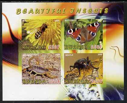 Rwanda 2009 Beautiful Insects imperf sheetlet containing 4 values unmounted mint