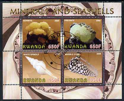 Rwanda 2009 Minerals & Seashells perf sheetlet containing 4 values fine cto used