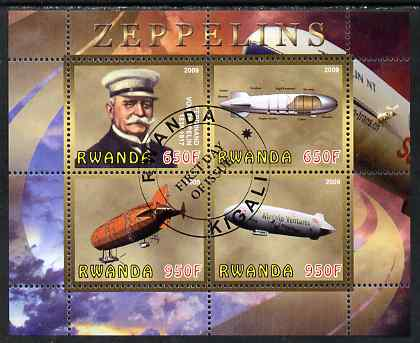 Rwanda 2009 Zeppelins perf sheetlet containing 4 values fine cto used