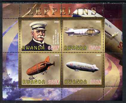 Rwanda 2009 Zeppelins perf sheetlet containing 4 values unmounted mint