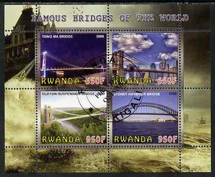 Rwanda 2009 Famous Bridges of the World perf sheetlet containing 4 values fine cto used