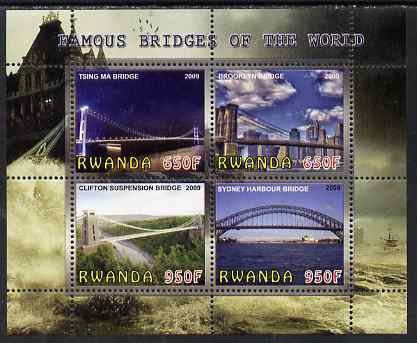 Rwanda 2009 Famous Bridges of the World perf sheetlet containing 4 values unmounted mint