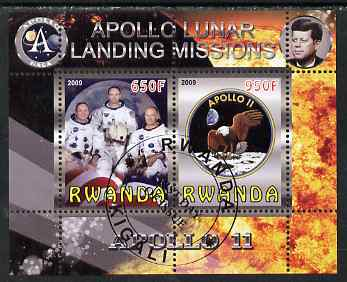 Rwanda 2009 Apollo Lunar Landing Missions - Apollo 11 perf sheetlet containing 2 values fine cto used