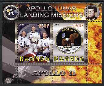 Rwanda 2009 Apollo Lunar Landing Missions - Apollo 11 perf sheetlet containing 2 values unmounted mint
