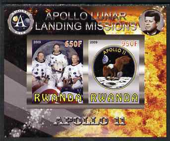 Rwanda 2009 Apollo Lunar Landing Missions - Apollo 11 imperf sheetlet containing 2 values unmounted mint