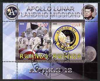 Rwanda 2009 Apollo Lunar Landing Missions - Apollo 12 perf sheetlet containing 2 values fine cto used