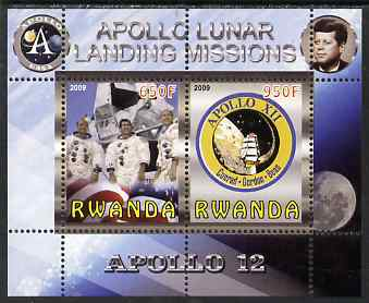 Rwanda 2009 Apollo Lunar Landing Missions - Apollo 12 perf sheetlet containing 2 values unmounted mint