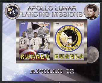 Rwanda 2009 Apollo Lunar Landing Missions - Apollo 12 imperf sheetlet containing 2 values unmounted mint