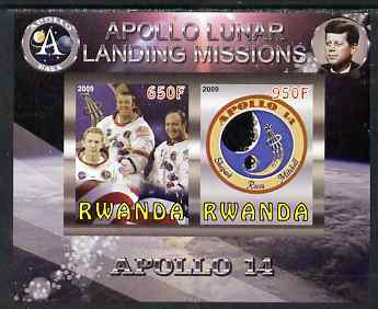 Rwanda 2009 Apollo Lunar Landing Missions - Apollo 14 imperf sheetlet containing 2 values unmounted mint