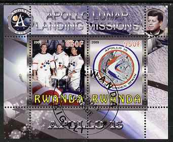 Rwanda 2009 Apollo Lunar Landing Missions - Apollo 15 perf sheetlet containing 2 values fine cto used