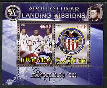 Rwanda 2009 Apollo Lunar Landing Missions - Apollo 16 perf sheetlet containing 2 values fine cto used