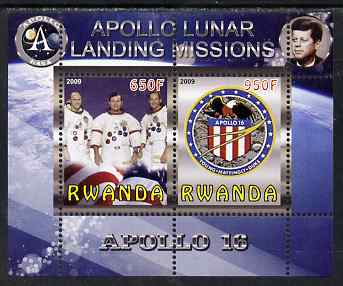 Rwanda 2009 Apollo Lunar Landing Missions - Apollo 16 perf sheetlet containing 2 values unmounted mint