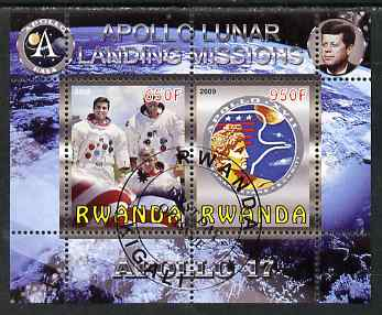 Rwanda 2009 Apollo Lunar Landing Missions - Apollo 17 perf sheetlet containing 2 values fine cto used