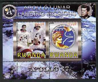Rwanda 2009 Apollo Lunar Landing Missions - Apollo 17 perf sheetlet containing 2 values unmounted mint