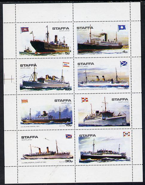 Staffa 1974 Steam Liners (Balmoral Castle, Atland, Suwa Maru, etc) perf set of 8 values (1/2p to 30p) unmounted mint