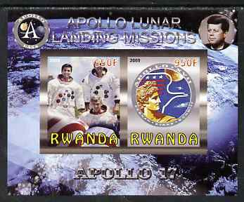 Rwanda 2009 Apollo Lunar Landing Missions - Apollo 17 imperf sheetlet containing 2 values unmounted mint