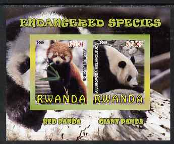 Rwanda 2009 Endangered Species - Pandas imperf sheetlet containing 2 values unmounted mint