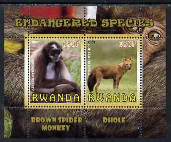 Rwanda 2009 Endangered Species - Spider Monkey & Dhole perf sheetlet containing 2 values unmounted mint
