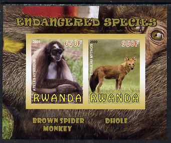Rwanda 2009 Endangered Species - Spider Monkey & Dhole imperf sheetlet containing 2 values unmounted mint