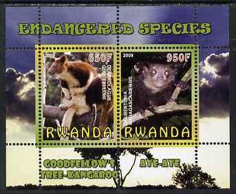 Rwanda 2009 Endangered Species - Tree Kangaroo & Aye Aye (Lemur) perf sheetlet containing 2 values unmounted mint