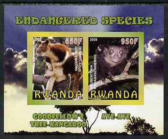 Rwanda 2009 Endangered Species - Tree Kangaroo & Aye Aye (Lemur) imperf sheetlet containing 2 values unmounted mint