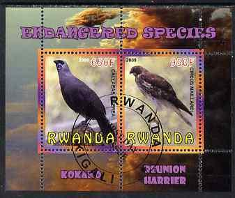 Rwanda 2009 Endangered Species - Kokako & Harrier perf sheetlet containing 2 values fine cto used