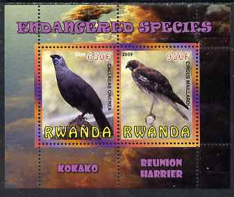 Rwanda 2009 Endangered Species - Kokako & Harrier perf sheetlet containing 2 values unmounted mint