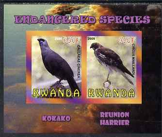Rwanda 2009 Endangered Species - Kokako & Harrier imperf sheetlet containing 2 values unmounted mint