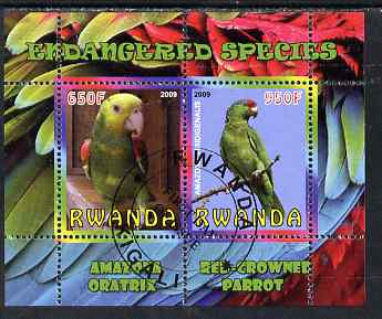 Rwanda 2009 Endangered Species - Oratrix & Red-Crowned Parrot perf sheetlet containing 2 values fine cto used