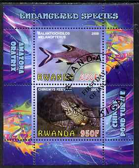Rwanda 2009 Endangered Species - Pond Turtle & Silver Shark (inscribed Oratrix in error) perf sheetlet containing 2 values fine cto used