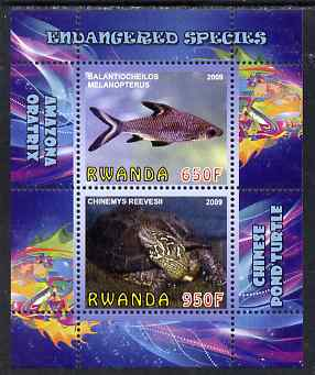 Rwanda 2009 Endangered Species - Pond Turtle & Silver Shark (inscribed Oratrix in error) perf sheetlet containing 2 values unmounted mint