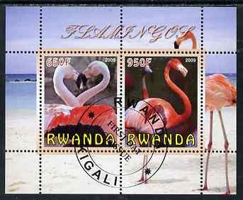Rwanda 2009 Flamingoes perf sheetlet containing 2 values fine cto used