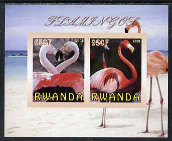 Rwanda 2009 Flamingoes imperf sheetlet containing 2 values unmounted mint