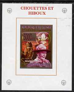 Guinea - Conakry 2008 Baden Powell & Owls #1 individual imperf deluxe sheet unmounted mint. Note this item is privately produced and is offered purely on its thematic appeal