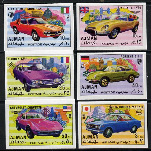 Ajman 1971 Modern Cars imperf set of 6 unmounted mint (Mi 1169-74B)