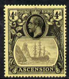 Ascension 1924-33 KG5 Badge 4d grey-black & black on yellow single with variety