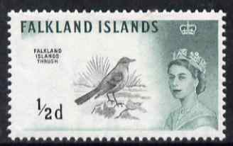 Falkland Islands 1960-66 Austral Thrush 1/2d black & green (Waterlow printing) unmounted mint, SG 193