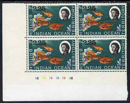British Indian Ocean Territory 1968-70 Rock Cod 2r25 plate block of 4 unmounted mint SG 27