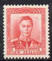 New Zealand 1938-44 KG6 1d scarlet unmounted mint, SG 605
