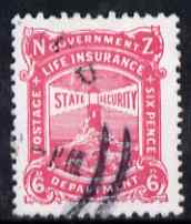 New Zealand 1913 Life Insurance 6d carmine-pink P14x15 very fine used, SG L31
