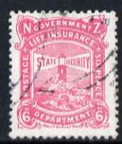 New Zealand 1913 Life Insurance 6d pink P14x15 very fine used, SG L36c