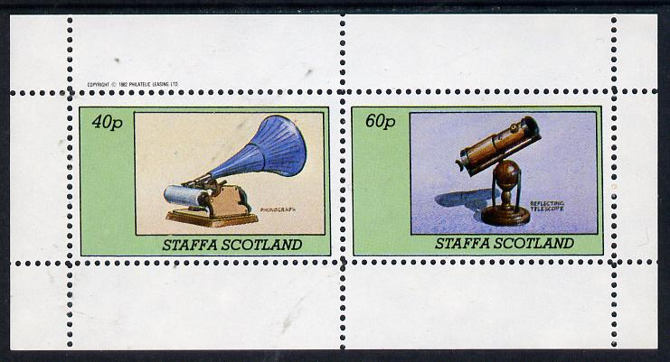 Staffa 1982 Inventions (Phonograph & Telescope) perf  set of 2 values (40p & 60p) unmounted mint