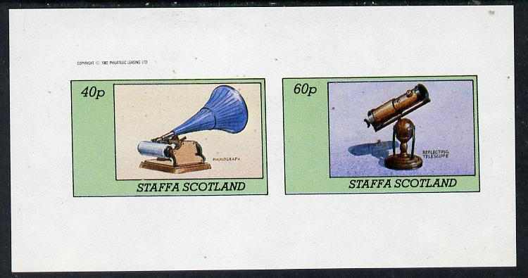 Staffa 1982 Inventions (Phonograph & Telescope) imperf  set of 2 values (40p & 60p) unmounted mint