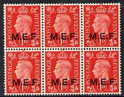 British Occupations of Italian Colonies - MEF 1942 KG6 1d scarlet block of 6 unmounted mint SG M1