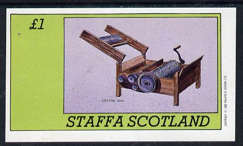 Staffa 1982 Inventions (Cotton Gin) imperf souvenir sheet (�1 value) unmounted mint