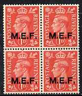 British Occupations of Italian Colonies - MEF 1943-47 KG6 1d pale scarlet block of 4 unmounted mint SG M11