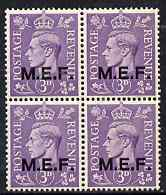 British Occupations of Italian Colonies - MEF 1943-47 KG6 3d pale violet block of 4 unmounted mint SG M14