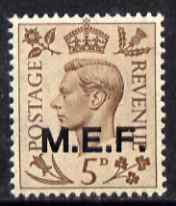 British Occupations of Italian Colonies - MEF 1943-47 KG6 5d brown (opt 13.5 mm) unmounted mint SG M15