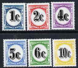 South West Africa 1961 Postage Dues complete set of 6 unmounted mint, SG D57-62